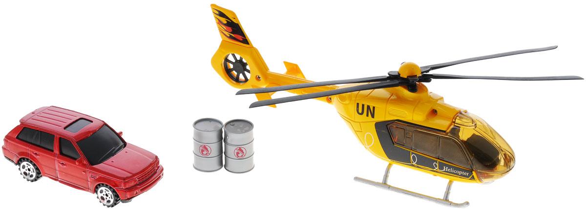 Big Motors Набор игровой Вертолет и машинка, цвет: желтый, красный22990-81009-2;JL81009-2Набор игровой Big motors Вертолет и машинка включает в себя вертолет, машинку, 2 бочки. Лопасти вертолета и колеса машинки вращаются, при нажатии на пропеллер включаются световые и звуковые эффекты. Этот чудесный набор будет отличным подарком любому мальчишке. Теперь устроить головокружительные трюки с участием вертолета и машины проще простого! Игрушка работает от 3 батареек типа LR54 (LR 1130) (набор комплектуется демонстрационными).