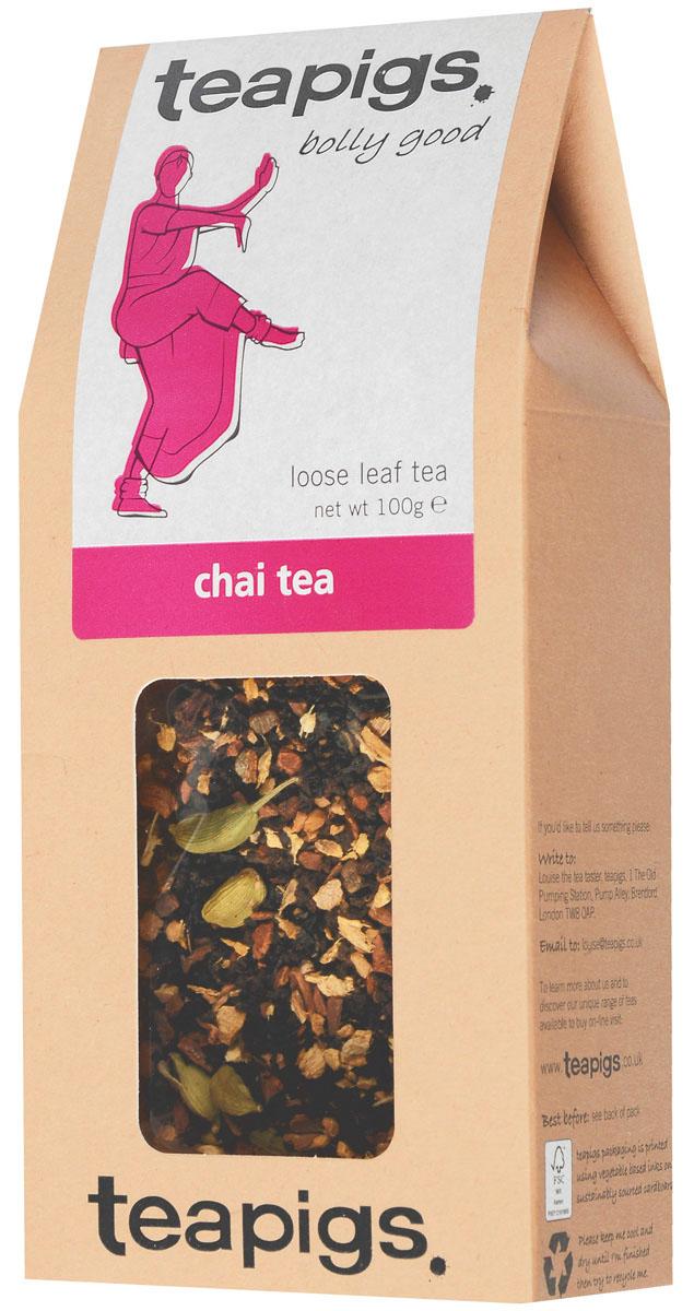 Teapigs Chai Tea Loose черный листовой чай, 100 г1003В Teapigs Chai Tea насыщенный солодовый вкус чая Ассам сочетается со стручками кардамона, корицей, имбирем и кассией. Этот напиток утоляет жажду и дарит здоровье, передавая атмосферу и колорит таинственной Индии горячей чашкой чая.