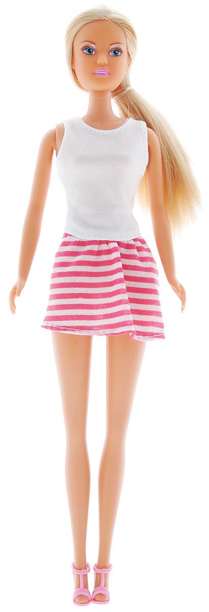 Simba Кукла Штеффи Городская мода цвет белый, розовый5733471_белый, розовыйКукла Simba Штеффи - городская мода надолго займет внимание вашей малышки и подарит ей множество счастливых мгновений. Кукла изготовлена из пластика, ее голова, ручки и ножки подвижны, что позволяет придавать ей разнообразные позы. Куколка одета в легкое платье с однотонным верхом и юбкой, оформленной принтом в полоску. Наряд дополнен изящными босоножками. Чудесные длинные волосы куклы так весело расчесывать и создавать из них всевозможные прически, плести косички, жгутики и хвостики. Благодаря играм с куклой, ваша малышка сможет развить фантазию и любознательность, овладеть навыками общения и научиться ответственности. Порадуйте свою принцессу таким прекрасным подарком!