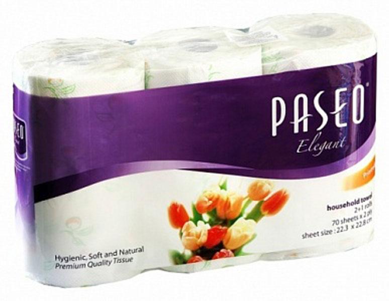 PASEO ELEGANT рулоные полотенца 2-x сл 70лист х 3рул с цв.рис490008Одноразовые бумажные полотенца представляют собой совершенную комбинацию впитываемости, прочности, гигиены и универсальности использования. Могут быть использованы дома, на природе, в офисе. Они отлично справляются со всеми видами очистки поверхности от загрязнений и удаления излишней влаги. При намокании не рвутся и не оставляют частиц бумаги на вытираемой поверхности.