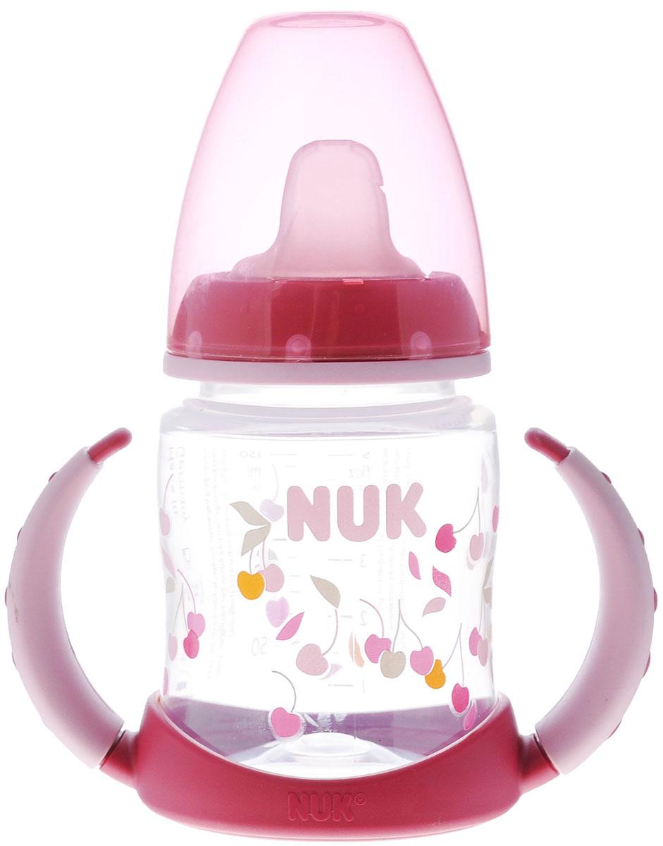 NUK Бутылочка-поильник First Choice, с латексной насадкой, от 6 месяцев, цвет: бордовый, 150 мл - NUK10743393_бордовыйПластиковая обучающая бутылочка NUK First Choice разработана специально для малышей от 6 месяцев. Малыш легко перейдет от груди к бутылочке, а от бутылочки к самостоятельному питью. Мягкий носик-насадка со специальным отверстием для питья изготовлен из латекса и исключает протекание, а за съемные пластиковые ручки бутылочку очень удобно держать. Закупоривающий диск бутылочки легко вставляется в завинчивающееся кольцо, что позволяет бутылочке оставаться герметичной даже во время сильной встряски.