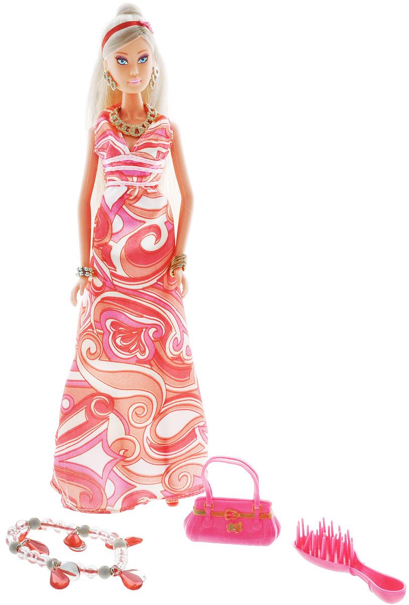 Simba Кукла Штеффи супермодель5737454_цвет платья розовыйКукла Simba Steffi Love. Supermodel: Maxi Dress надолго займет внимание вашей малышки и подарит ей множество счастливых мгновений. Кукла изготовлена из прочного материала, ее голова, ручки и ножки подвижны, что позволяет придавать ей разнообразные позы. В комплект входят: расческа и сумочка для куклы, а также оригинальный браслет для девочки. Куколка одета в стильное длинное платье розового цвета. Модный образ дополняют золотистые бусы, браслеты и серьги. Чудесные длинные волосы куклы так весело расчесывать и создавать из них всевозможные прически и хвостики. Благодаря играм с куклой, ваша малышка сможет развить фантазию и любознательность, овладеть навыками общения и научиться ответственности, а дополнительные аксессуары сделают игру еще увлекательнее. Порадуйте свою принцессу таким прекрасным подарком.