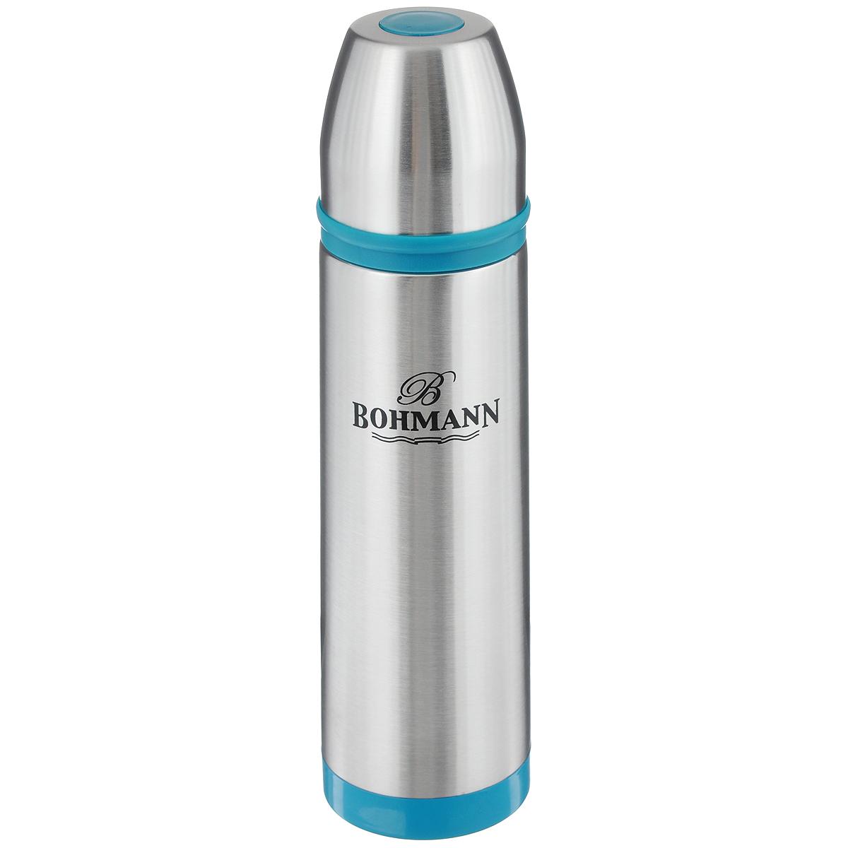 Термос Bohmann, цвет: металлик, голубой, 1 л. 4492BHNEW4492BHNEW_голубойТермос Bohmann выполнен из высококачественной нержавеющей стали с матовой полировкой, пластика и силикона. Двойные стенки сохраняют температуру до 24 часов. Внутренняя колба выполнена из высококачественной нержавеющей стали марки 18/10. Термос имеет вакуумную прослойку между внутренней колбой и внешней стенкой. Специальная термоизоляционная прокладка удерживает тепло. Термос снабжен плотно прилегающей закручивающейся пластиковой пробкой с нажимным клапаном и укомплектован теплоизолированной чашкой из нержавеющей стали. Для того чтобы налить содержимое термоса, нет необходимости откручивать пробку. Достаточно надавить на клапан, расположенный в центре. Легкий и удобный, термос Bohmann станет незаменимым спутником в ваших поездках. Диаметр чашки (по верхнему краю): 7,5 см. Высота стенки чашки: 7,5 см. Диаметр горлышка термоса: 5 см. Диаметр основания термоса: 8 см. Высота термоса (с учетом крышки): 32,5 см. Объем: 1 л.