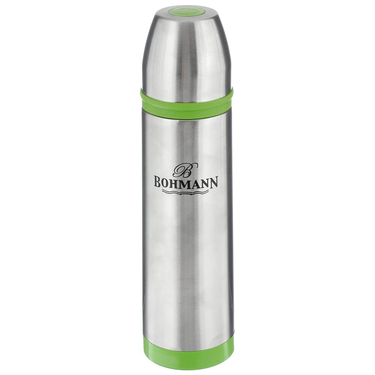 Термос Bohmann, цвет: металлик, салатовый, 1 л. 4492BHNEW4492BHNEW_салатовыйТермос Bohmann выполнен из высококачественной нержавеющей стали с матовой полировкой, пластика и силикона. Двойные стенки сохраняют температуру до 24 часов. Внутренняя колба выполнена из высококачественной нержавеющей стали марки 18/10. Термос имеет вакуумную прослойку между внутренней колбой и внешней стенкой. Специальная термоизоляционная прокладка удерживает тепло. Термос снабжен плотно прилегающей закручивающейся пластиковой пробкой с нажимным клапаном и укомплектован теплоизолированной чашкой из нержавеющей стали. Для того чтобы налить содержимое термоса, нет необходимости откручивать пробку. Достаточно надавить на клапан, расположенный в центре. Легкий и удобный, термос Bohmann станет незаменимым спутником в ваших поездках. Диаметр чашки (по верхнему краю): 7,5 см. Высота стенки чашки: 7,5 см. Диаметр горлышка термоса: 5 см. Диаметр основания термоса: 8 см. Высота термоса (с учетом крышки): 32,5 см. Объем: 1 л.
