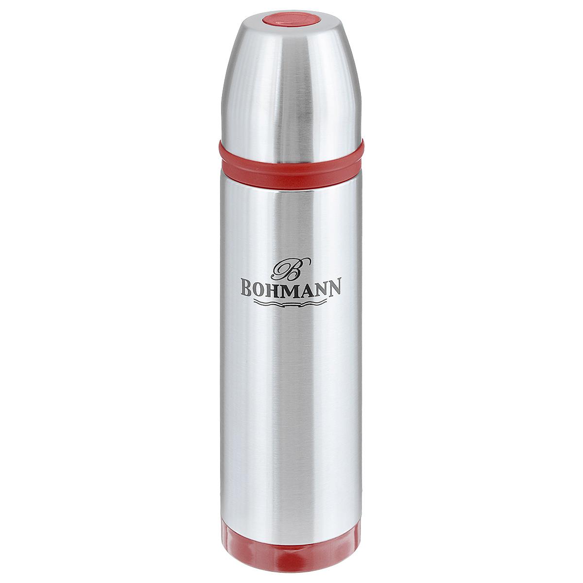 Термос Bohmann с узким горлом, цвет: металлик, красный, 800 мл. 4491BHNEW