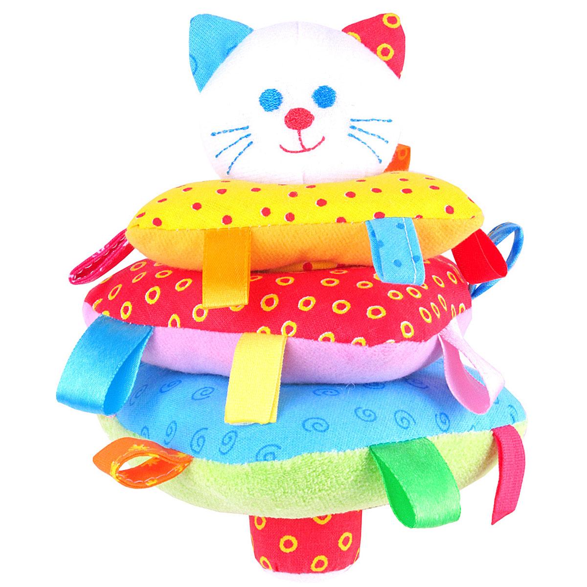Мякиши Мягкая игрушка-пирамидка Котик321Мягкая игрушка-пирамидка Мякиши Котик надолго займет внимание вашего крохи. На штырек основания пирамидки насаживается три треугольных колечка разных цветов и размеров с небольшими петельками на каждом. Шуршащий штырек венчает головка забавного котика с вышитыми глазками, носиком, ротиком и усиками. Внутри головки спрятана сфера с шариками, гремящими при тряске. Внутри большого треугольника также находится гремящая сфера. Игрушка выполнена из качественных, приятных на ощупь текстильных разнофактурных материалов и мягкого наполнителя, что делает ее абсолютно безопасной в игре. Удачно подобранный размер и цвет развивают мышление, цветовое и слуховое восприятие, координацию движений и совершенствуют моторику нежных пальчиков малыша.