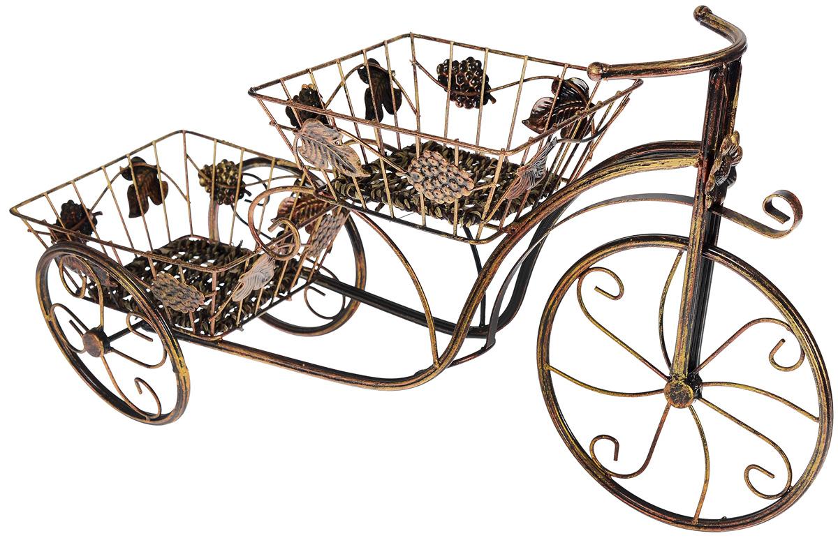 Цветочница Sima-land Велосипед, 2 яруса588897Оригинальная цветочница Sima-land Велосипед, изготовленная в винтажном стиле, придаст интерьеру тепло и уют, а также создаст атмосферу гармонии и комфорта. Двухъярусная цветочница имеет металлический каркас и две емкости-кашпо для расположения как искусственных, так и живых растений. Необычный дизайн цветочницы позволит использовать ее в качестве как настольного, так и напольного декора интерьера, оживляющего обстановку и придающего ей элемент изысканности и роскоши. Общий размер цветочницы: 64 см x 35 см x 20 см. Размер емкости для горшка: 20 см x 20 см x 8 см.