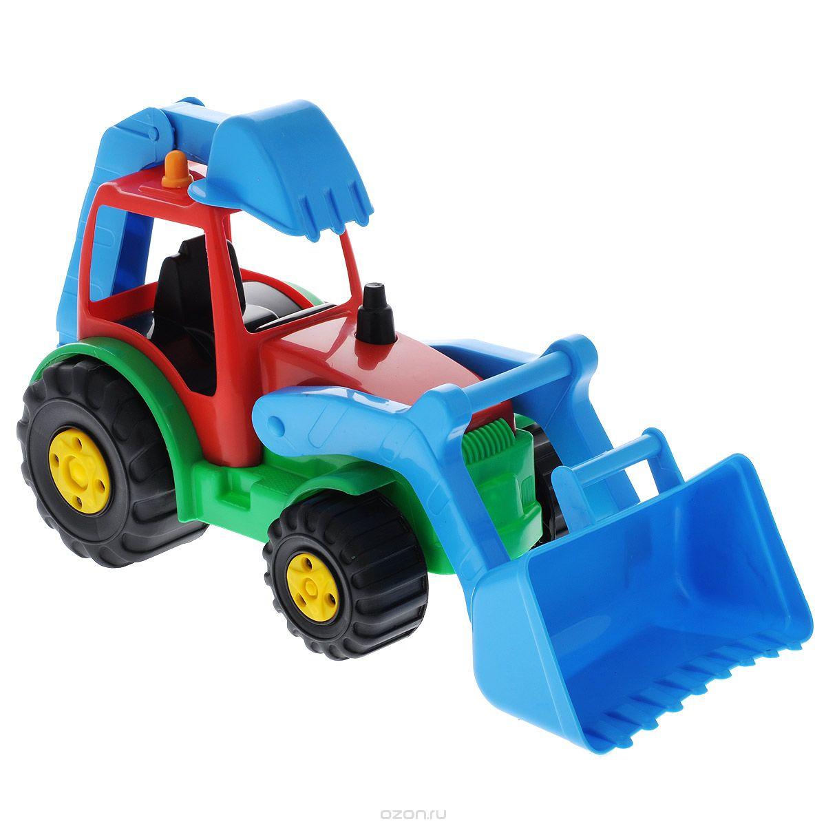 Игрушка AVC Трактор01/5192Яркий трактор AVC, выполненный из прочного безопасного пластика красного, зеленого и синего цветов, отлично подойдет ребенку для различных игр. Трактор оснащен большим ковшом, с помощью которого можно перемещать различные материалы (камни, песок, строительный мусор), и ковшом обратной лопаты. Оба ковша обладают подвижной конструкцией. В просторную кабину можно поместить небольшую игрушку. Большие крутящиеся колеса обеспечивают игрушке устойчивость и хорошую проходимость. Игрушка развивает концентрацию внимания, цветовое восприятие, воображение, а также моторику рук. Ваш ребенок непременно обрадуется новому транспорту в своем игрушечном автопарке. Порадуйте его таким замечательным подарком!