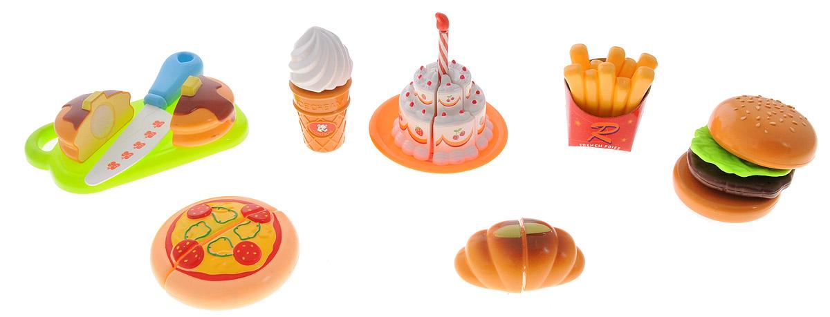 Dong Fan Игровой набор Продукты228E6-5Игровой набор Продукты предназначен для настоящих кулинаров! Каждый продукт в наборе состоит из двух или более частей, соединяющихся в одно целое при помощи липучки. Ваш ребенок с удовольствием будет разделять продукты на части при помощи специального ножа. В набор входит 8 видов продуктов, среди которых пирог, торт, батон, мороженое, леденец, картофель фри, гамбургер и пицца. Также в комплект входит нож и разделочная доска. Набор поможет ребенку наглядно познакомиться с разными видами продуктов и выучить их названия.