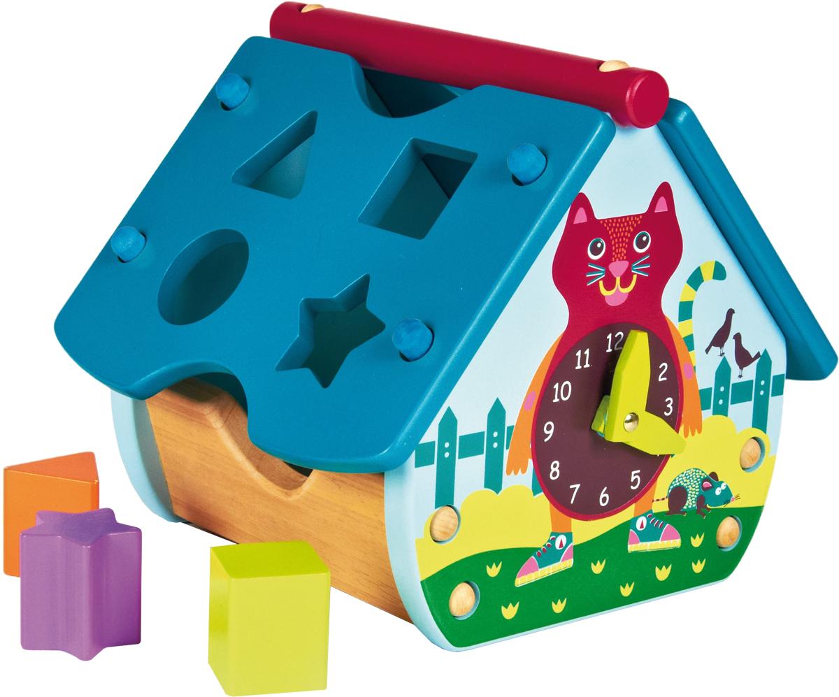 OOPS Игрушка-сортер Домик с часами. КошкаO 16003.20Яркая игрушка-сортер OOPS Домик с часами. Кошка сочетает в себе увлекательное обучение и настоящее веселье. Все элементы яркого и познавательного набора выполнены из дерева, выкрашенного нетоксичными красками. Игрушка представляет собой каркас домика с двумя съемными элементами крыши. На одной детали крыши фигурные отверстия в виде квадрата, треугольника, круга и звезды, а на другой несъемные детали в виде двух шестеренок. Также в комплект входят четыре фигурных элемента соответствующей формы и разных цветов: красный, салатовый, оранжевый, сиреневый. Задача малыша состоит в том, чтобы опустить фигурки в соответствующие им отверстия. Когда все они окажутся внутри сортера, их можно достать, сняв крышу. На одном из торцов домика изображен циферблат часов с двумя деревянными подвижными стрелками. Домик оснащен ручкой для переноски. Игрушка-сортер поможет малышу развить цветовое и звуковое восприятие, логическое мышление, моторику рук, ...