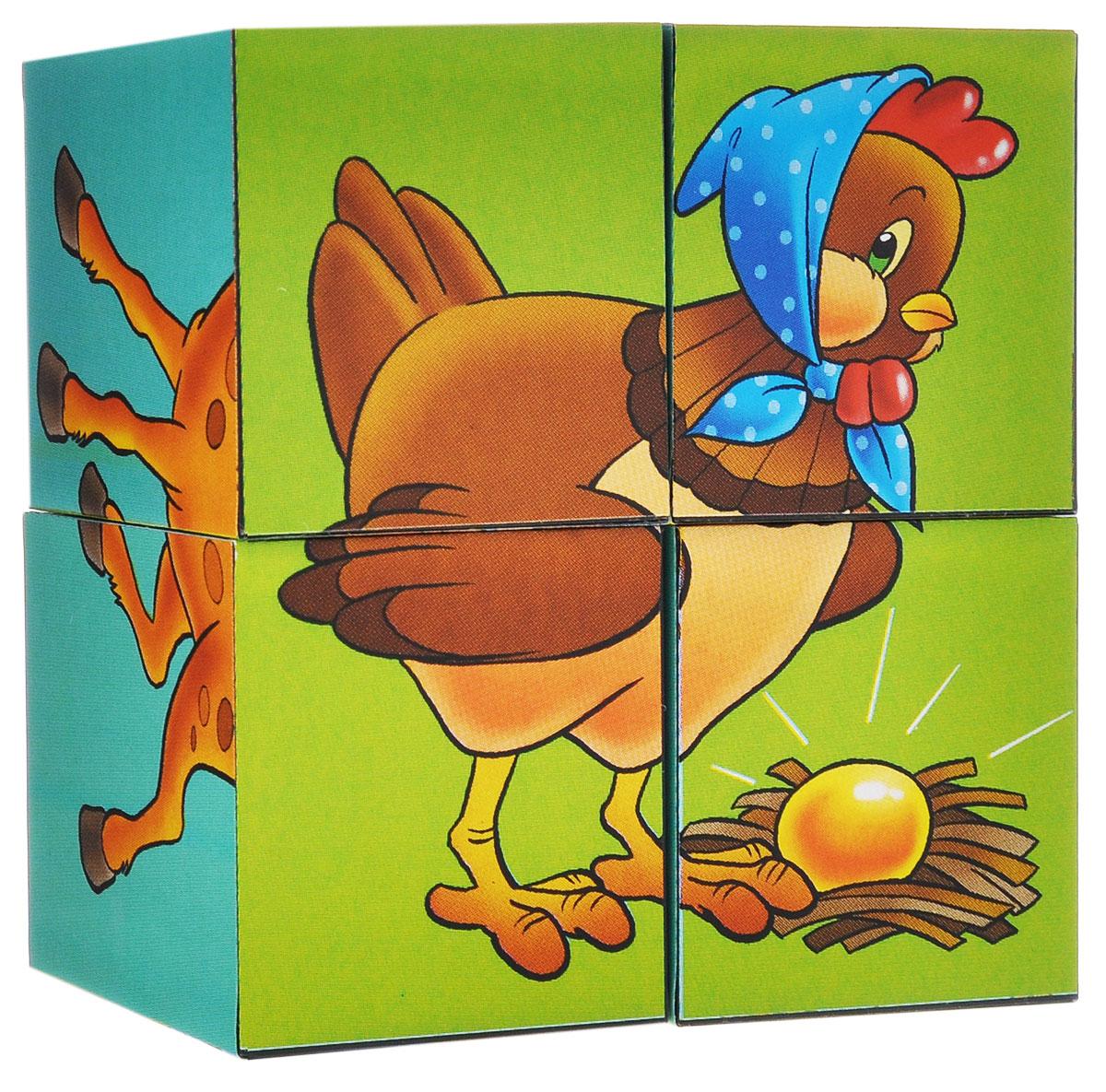 Кубики StepPuzzle Герои сказок, 4 шт. Курочка Ряба87314_герои сказокКубики StepPuzzle Герои сказок включают в себя 4 кубика, на каждой грани которых расположен элемент рисунка. Составляя кубики, малыш сможет собрать 6 красочных картинок с изображением различных героев сказок. Кубики выполнены из прочного безопасного пластика. Их грани идеально ровные, малышу непременно понравится держать их в руках, рассматривать и строить из них различные конструкции. А собирание ярких картинок малышу развить навыки логического мышления и поможет ему познакомиться с разными цветами и их названиями. Игры с кубиками развивают мелкую моторику рук, цветовое восприятие и пространственное мышление. Ребенку непременно понравится учиться и играть с кубиками, такие игры не только надолго займут внимание малыша, но и помогут ему развить мелкую моторику, пространственное мышление, зрительное и тактильное восприятие, а также воображение и координацию движений.