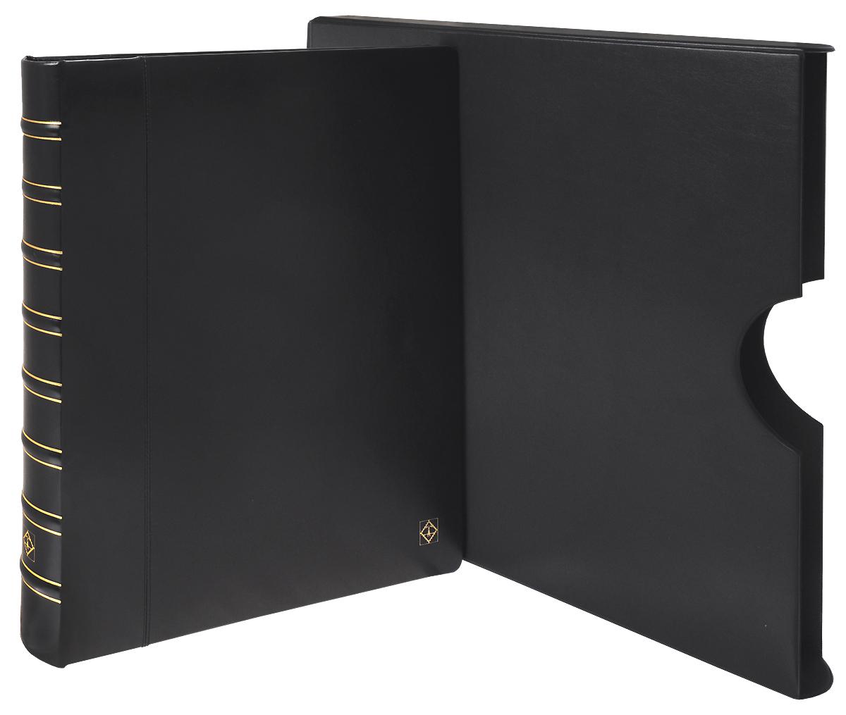 АльбомKanzlei для банкнот и ценных бумаг в футляре без листов. Цвет черный. Leuhtturm319263Размер альбома 390 x 460 мм. Материал: искусственная кожа. Надежная 4-кольцевая D механика. Вмещает до 40-50 листов системы KANZLEI (в зависимости от коллекционного материала). Цвет: чёрный. Подходит для длительного хранения бон, телефонных карточек, открыток в листах системы KANZLEI.