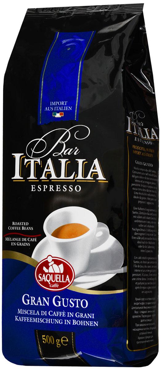 Saquella Bar Italia Gran Gusto кофе в зернах, 500 г8002650000791Saquella Bar Italia Gran Gusto - яркий сорт, в состав которого входит кофе с лучших плантаций Сантоса, Центральной Америки и острова Ява. Вкус этого кофе - сладкий с интенсивным ароматом. Послевкусие - плотное и долгоиграющее. При заваривании получается насыщенный напиток, обладающий устойчивой пенкой. Идеально подходит для приготовления эспрессо и капучино.