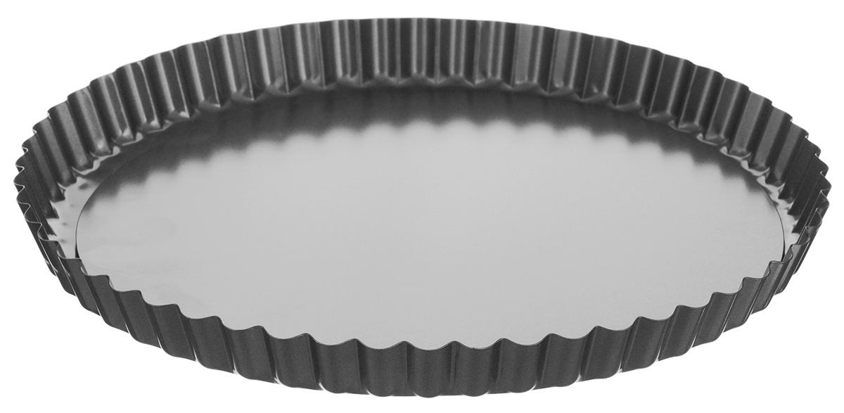 Форма для выпечки Tescoma Delicia, со съемным дном, с антипригарным покрытием, диаметр 28 см623115Форма для выпечки Tescoma Delicia изготовлена из металла с антипригарным покрытием, благодаря чему пища не пригорает и не прилипает к стенкам посуды. Кроме того, готовить можно с добавлением минимального количества масла и жиров. Антипригарное покрытие также обеспечивает легкость мытья. Стенки формы рифленые, что придает выпечке особую аппетитную форму. Изделие имеет съемное дно, благодаря чему готовое блюдо очень легко вынимать. Подходит для использования в духовом шкафу. Не подходит для СВЧ-печей. Можно мыть в посудомоечной машине. Диаметр формы: 28 см. Высота стенки: 2,5 см. Толщина стенки: 0,5 мм.