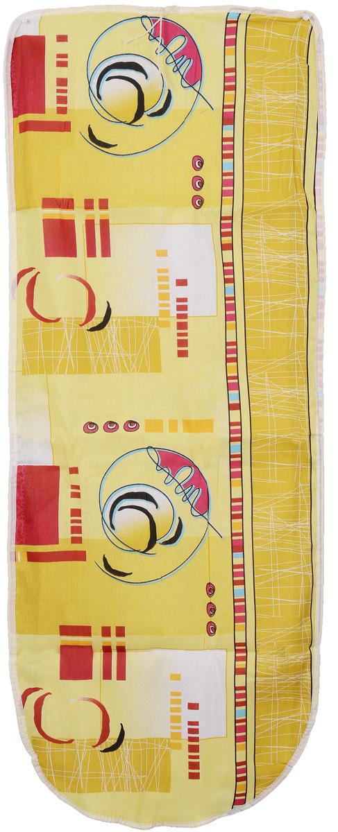 Чехол для гладильной доски Eva, цвет: желтый, белый, красный, 125 х 47 смЕ13_желтый, белый, красныйХлопчатобумажный чехол Eva с поролоновым слоем продлит срок службы вашей гладильной доски. Чехол снабжен стягивающим шнуром, при помощи которого вы легко отрегулируете оптимальное натяжение чехла и зафиксируете его на рабочей поверхности гладильной доски. Размер чехла: 125 см х 47 см. Максимальный размер доски: 116 см х 40 см.