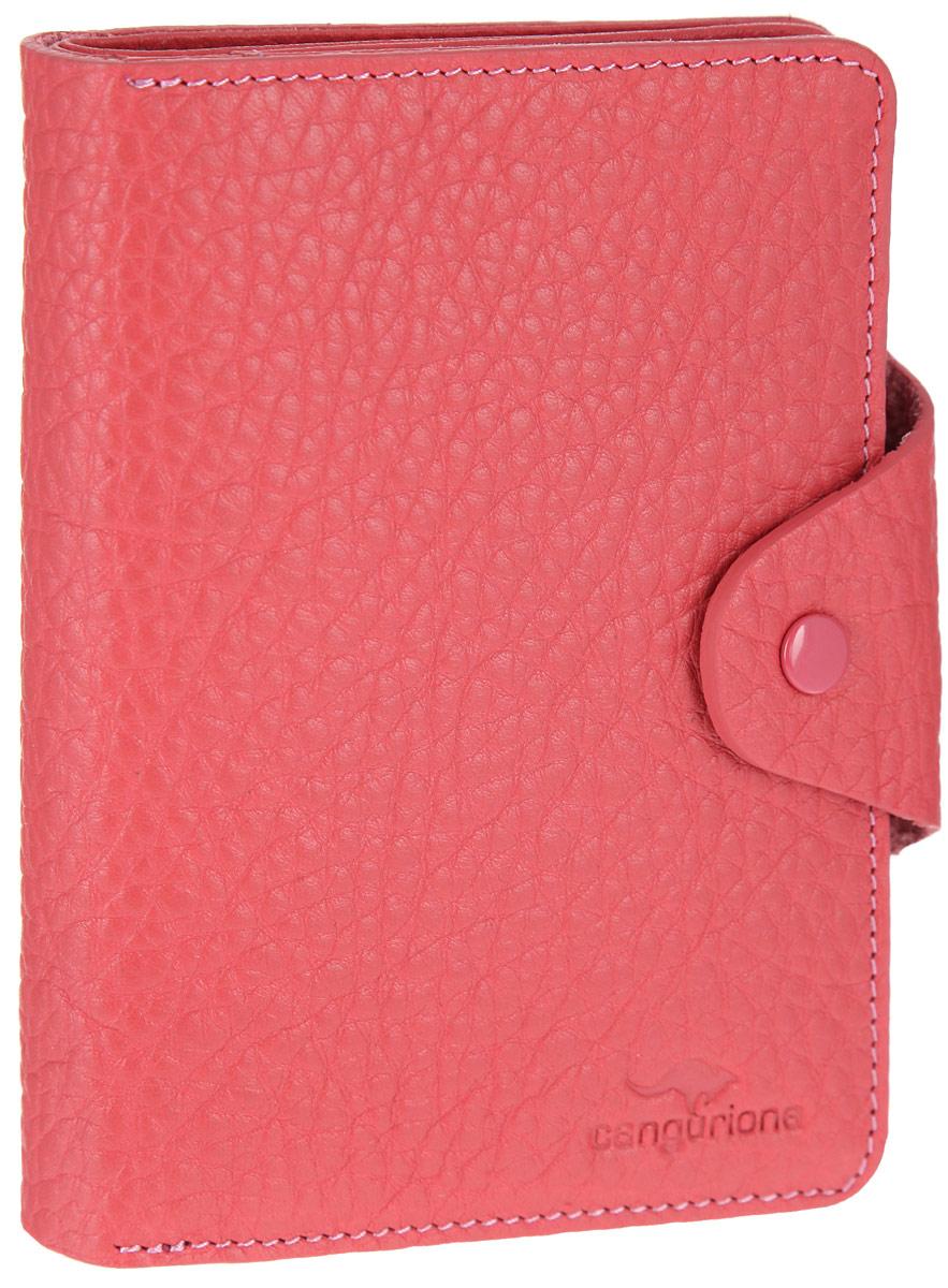 Портмоне женское Cangurione, цвет: розовый. 2135-010 F2135-010 F/PinkОригинальное женское портмоне Cangurione станет стильным аксессуаром, идеально подходящим вашему образу. Портмоне выполнено из натуральной кожи с фактурным тиснением и закрывается на клапан с кнопкой. Модель имеет лицевой накладной карман для мелочи, закрывающийся на клапан. Внутри одно отделение для купюр, два окошка с сеточкой для фото, восемь скрытых карманов и девять прорезей для пластиковых карт или визиток. Упаковано портмоне в фирменную коробку. Такое портмоне станет замечательным подарком человеку, ценящему качественные и практичные вещи.