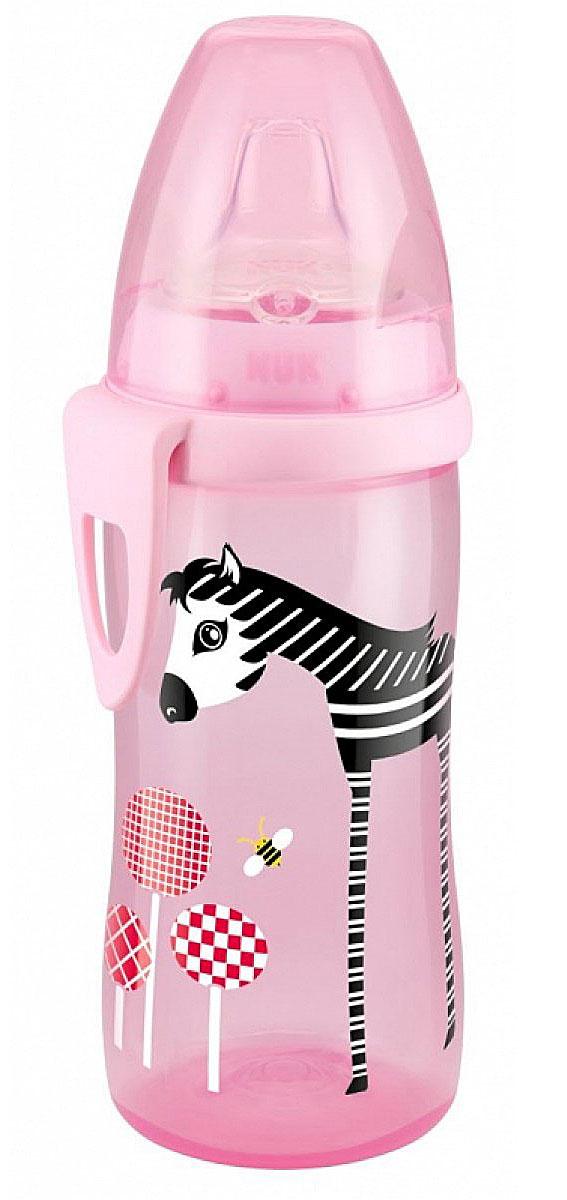 NUK Бутылочка-поильник Active Cup, с силиконовым носиком, цвет: розовый, 300 мл, от 12 месяцев10750405лошадкаПластиковая обучающая бутылочка-поильник NUK Active Cup разработана специально для малышей от 12 месяцев. Малыш легко перейдет от груди к бутылочке, а от бутылочки к самостоятельному питью. Мягкий носик-насадка со специальным отверстием для питья изготовлен из силикона и исключает протекание. Бутылочка оформлена изображением длинноногой зебры. Закупоривающий диск бутылочки легко вставляется в завинчивающееся кольцо, что позволяет бутылочке оставаться герметичной даже во время сильной встряски. Объем поильника: 300 мл.