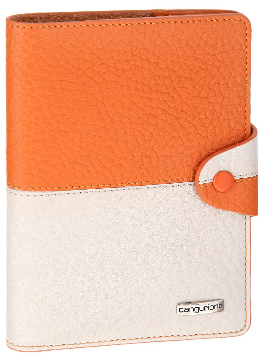 Обложка для паспорта женская CANGURIONE, цвет: слоновая кость, оранжевый. 33263326-F/Orange-BeigeСтильная обложка для паспорта CANGURIONE выполнена из натуральной кожи контрастных оттенков с зернистой текстурой. Обложка оформлена металлическим элементом с названием бренда. Изделие закрывается на хлястик с кнопкой. Элегантная обложка CANGURIONE не только поможет сохранить внешний вид ваших документов и защитить их от повреждений, но и станет стильным аксессуаром, идеально подходящим к вашему образу.