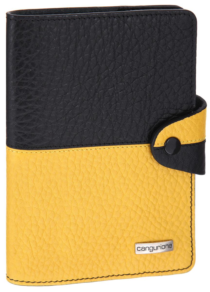 Обложка для паспорта CANGURIONE, цвет: черный, желтый. 3326-F3326-F/Black-YellowСтильная обложка для паспорта CANGURIONE выполнена из натуральной кожи контрастных оттенков с зернистой текстурой. Обложка оформлена металлическим элементом с названием бренда. Изделие закрывается на хлястик с кнопкой. Элегантная обложка CANGURIONE не только поможет сохранить внешний вид ваших документов и защитить их от повреждений, но и станет стильным аксессуаром, идеально подходящим к вашему образу.