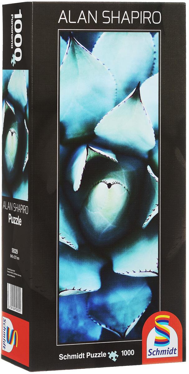 Schmidt Алан Шапиро, Голубая эчеверия. Пазл-панорама, 1000 элементов59329Пазл Schmidt Голубая эчеверия непременно придется вам по душе. Собрав этот пазл, включающий в себя 1000 элементов, вы получите великолепную панорамную картину современного художника Алана Шапиро с изображением необыкновенного растения каменной розы. Такая необычная картина станет достойным украшением любого интерьера. Пазл - великолепная игра для семейного досуга. Сегодня собирание пазлов стало особенно популярным, главным образом, благодаря своей многообразной тематике, способной удовлетворить самый взыскательный вкус. А для детей это не только интересно, но и полезно. Собирание пазла развивает мелкую моторику рук у ребенка, тренирует наблюдательность, логическое мышление, знакомит с окружающим миром, с цветом и разнообразными формами.