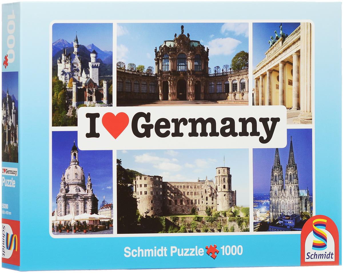 Schmidt Я люблю Германию. Пазл, 1000 элементов59280Пазл Schmidt Я люблю Германию непременно придется вам по душе. Собрав этот пазл, включающий в себя 1000 элементов, вы получите коллаж с изображением достопримечательностей Германии. Пазл - великолепная игра для семейного досуга. Сегодня собирание пазлов стало особенно популярным, главным образом, благодаря своей многообразной тематике, способной удовлетворить самый взыскательный вкус. А для детей это не только интересно, но и полезно. Собирание пазла развивает мелкую моторику рук, тренирует наблюдательность, логическое мышление, знакомит с окружающим миром, с цветом и разнообразными формами. Размер готового пазла: 69,3 см x 49,3 см.