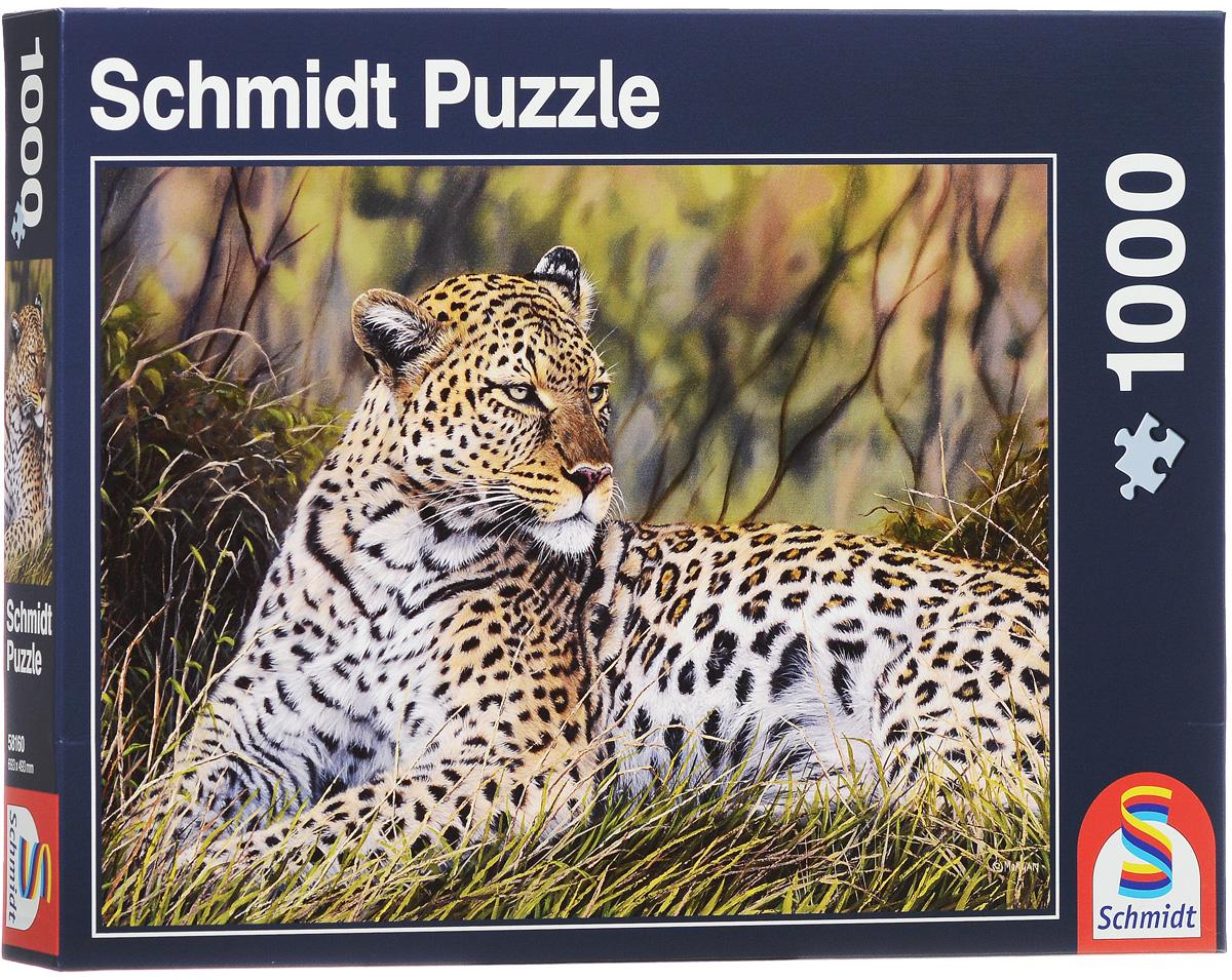 Schmidt Пазл Король саванны, 1000 элементов58160Schmidt Пазл Король саванны непременно придется вам по душе. Собрав этот пазл, включающий в себя 1000 элементов, вы получите интересную картинку с отдыхающим леопардом. Пазл - великолепная игра для семейного досуга. Сегодня собирание пазлов стало особенно популярным, главным образом, благодаря своей многообразной тематике, способной удовлетворить самый взыскательный вкус. А для детей это не только интересно, но и полезно. Собирание пазла развивает мелкую моторику рук у ребенка, тренирует наблюдательность, логическое мышление, знакомит с окружающим миром, с цветом и разнообразными формами.