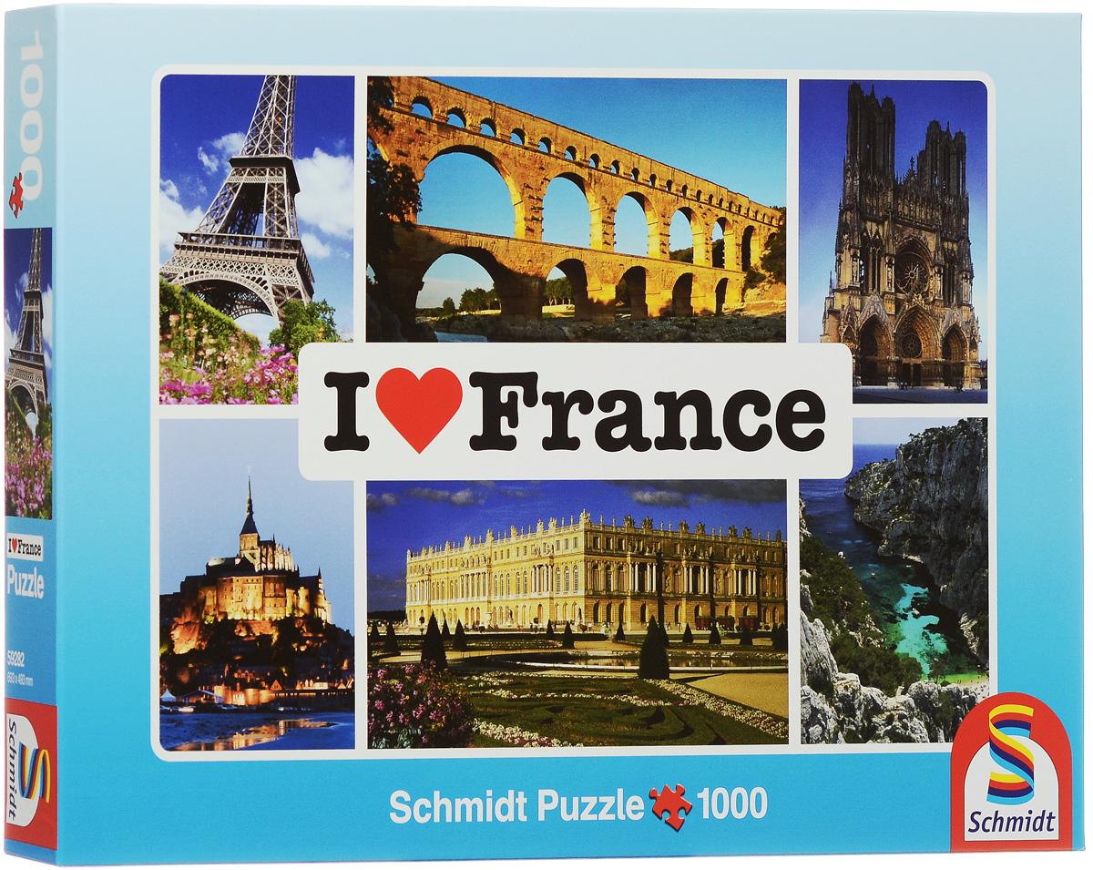Schmidt Я люблю Францию. Пазл, 1000 элементов59282Пазл Я люблю Францию непременно придется вам по душе. Собрав этот пазл, включающий в себя 1000 элементов, вы получите картину с яркими видами Франции и Парижа. Пазл - великолепная игра для семейного досуга. Сегодня собирание пазлов стало особенно популярным, главным образом, благодаря своей многообразной тематике, способной удовлетворить самый взыскательный вкус. А для детей это не только интересно, но и полезно. Собирание пазла развивает мелкую моторику рук у ребенка, тренирует наблюдательность, логическое мышление, знакомит с окружающим миром, с цветом и разнообразными формами.
