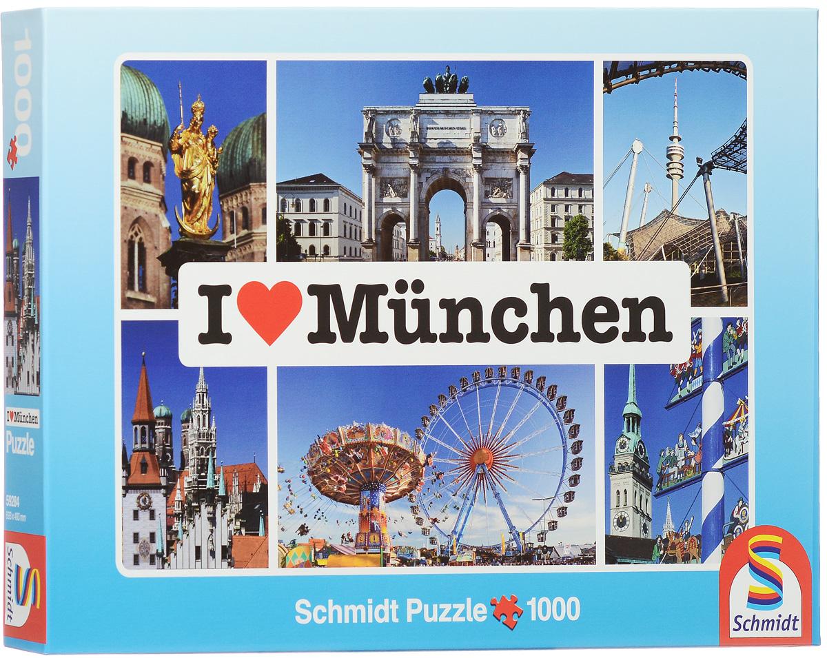 Schmidt Я люблю Мюнхен. Пазл, 1000 элементов59284Пазл Schmidt Я люблю Мюнхен непременно придется вам по душе. Собрав этот пазл, включающий в себя 1000 элементов, вы получите коллаж с изображением достопримечательностей Мюнхена. Пазл - великолепная игра для семейного досуга. Сегодня собирание пазлов стало особенно популярным, главным образом, благодаря своей многообразной тематике, способной удовлетворить самый взыскательный вкус. А для детей это не только интересно, но и полезно. Собирание пазла развивает мелкую моторику рук, тренирует наблюдательность, логическое мышление, знакомит с окружающим миром, с цветом и разнообразными формами. Размер готового пазла: 69,3 см x 49,3 см.
