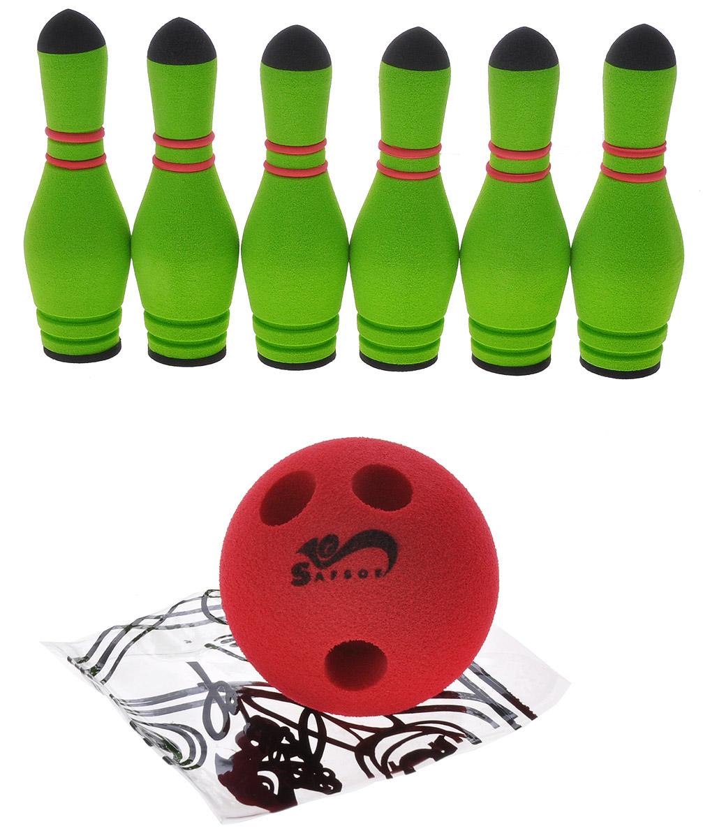 Safsof Игровой набор Мини-боулинг цвет зеленый красныйMBB-05(B)Игровой набор Safsof Боулинг, изготовленный из вспененной резины, состоит из шести кеглей и шара. Он безопасен и мягок, это обеспечивает безопасность ребенку. Суть игры в боулинг - сбить шаром максимальное количество кеглей. Число игроков и количество туров - произвольное. Очки, набранные с каждым броском мяча, рассматриваются как количество сбитых кегель. Расстояние, с которого совершается бросок, определяется игроками. Каждый игрок имеет право на два броска в одной рамке (рамка - треугольник, на поле которого выстраиваются кегли перед каждым первым броском очередного игрока). Бросок, при котором все кегли сбиты, называется страйк и обозначается как Х. Если все кегли сбиты первым броском, второй бросок не требуется: рамка считается закрытой. Призовые очки за страйк - это сумма кеглей, сбитых игроком следующими двумя бросками. Выигрывает тот игрок, который в сумме набирает больше очков.