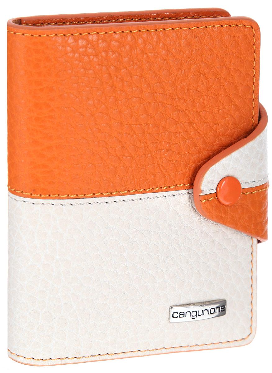 Визитница женская Cangurione, цвет: слоновая кость, оранжевый. 3324-F3324-F/Orange-BeigeСтильная визитница CANGURIONE выполнена из натуральной кожи контрастных оттенков с зернистой текстурой. Изделие оформлено металлическим элементом с названием бренда. Визитница раскладывается и закрывается хлястиком на кнопку. Внутри размещены десять файлов для визиток или пластиковых карт, четыре кармашка для кредитных карт. Яркая визитница CANGURIONE не только поможет сохранить внешний вид ваших визиток, а также станет стильным аксессуаром, идеально подходящим к вашему образу.