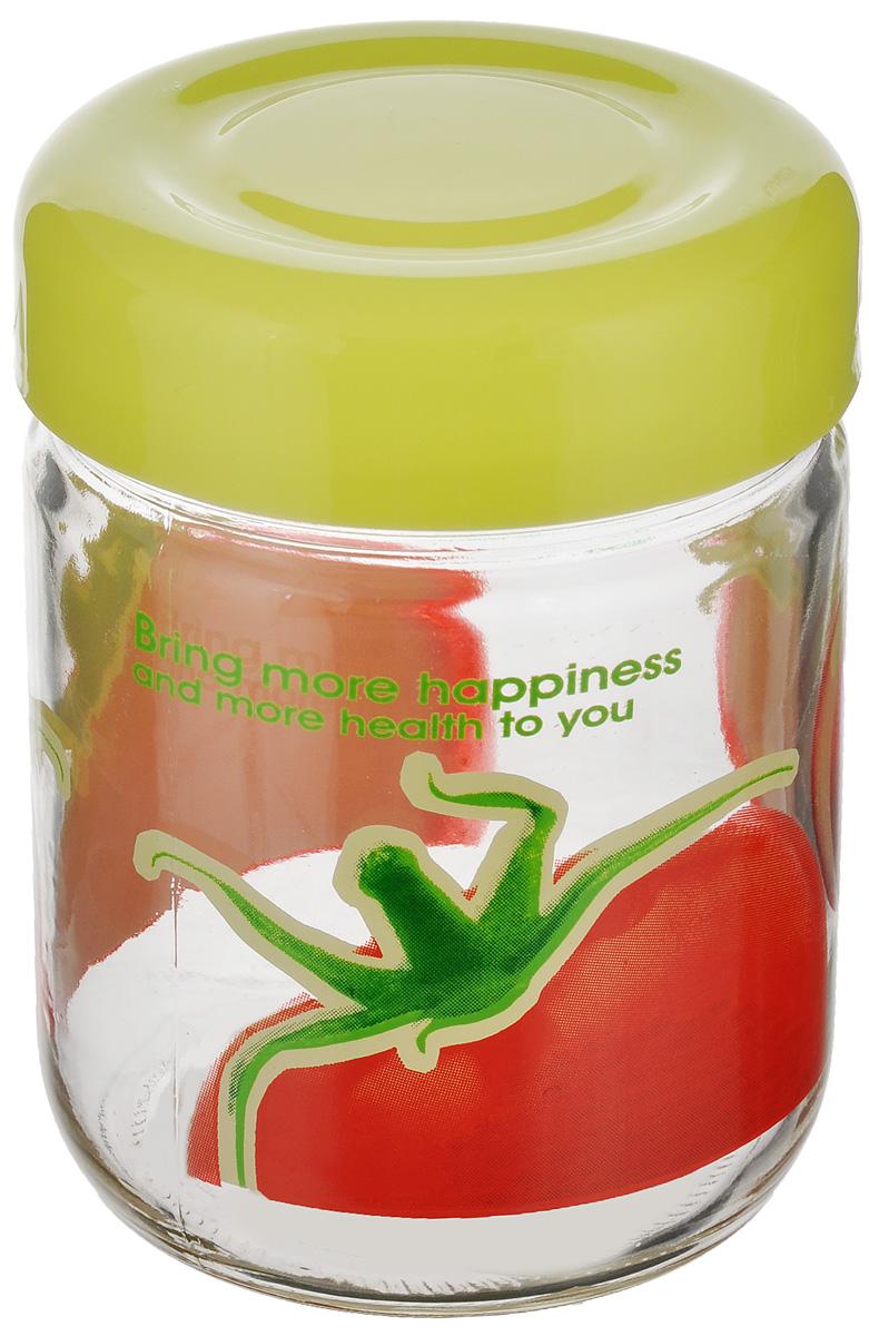 Банка Lilac Tomato, цвет: салатовый, прозрачный, красный, 350 млLLSN6350_салатовыйБанка Lilac Tomato изготовлена из стекла, внешние стенки оформлены изображением томата. Емкость снабжена пластиковой крышкой, которая плотно и герметично закрывается, дольше сохраняя аромат и свежесть содержимого. Банка подходит для хранения сыпучих продуктов: круп, специй, сахара, соли. Такая банка станет полезным приобретением и пригодится на любой кухне. Размер банки (без учета крышки): 7,5 см х 7,5 см х 10,5 см. Высота банки (с учетом крышки): 11,5 см.