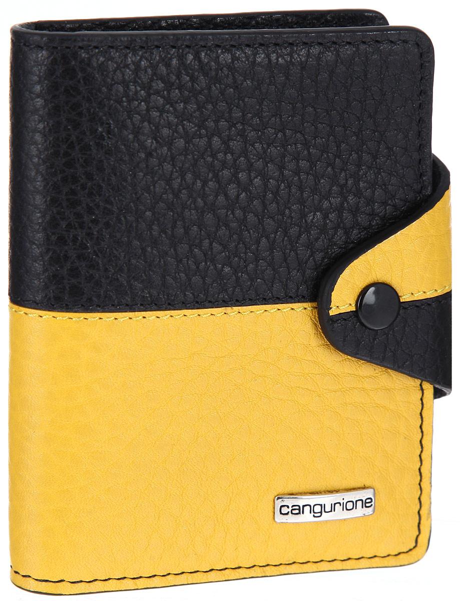 Визитница Cangurione, цвет: черный, желтый. 3324-F3324-F/Black-YellowСтильная визитница Cangurione выполнена из натуральной кожи контрастных оттенков с зернистой текстурой. Изделие оформлено металлическим элементом с названием бренда. Визитница раскладывается и закрывается хлястиком на кнопку. Внутри размещены десять файлов для визиток или пластиковых карт, четыре кармашка для кредитных карт. Яркая визитница Cangurione не только поможет сохранить внешний вид ваших визиток, а также станет стильным аксессуаром, идеально подходящим к вашему образу.