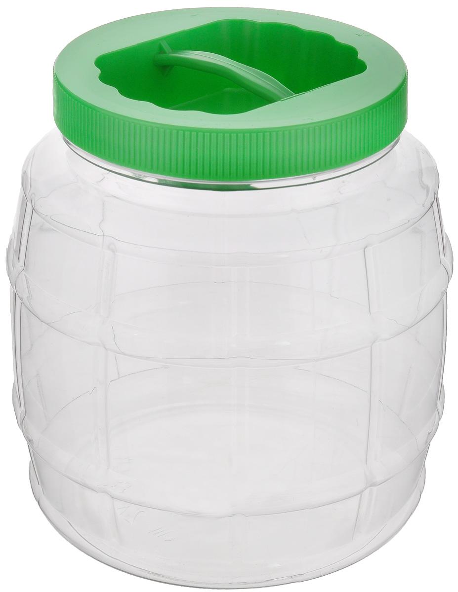 Емкость Альтернатива Бочонок, с ручкой, цвет: зеленый, прозрачный, 2 лМ689_зеленый, прозрачныйЕмкость Альтернатива Бочонок предназначена для хранения сыпучих продуктов или жидкостей. Выполнена из высококачественного пластика. Оснащена ручкой для удобной переноски. Диаметр: 10,5 см. Высота (без учета крышки): 15,5 см.
