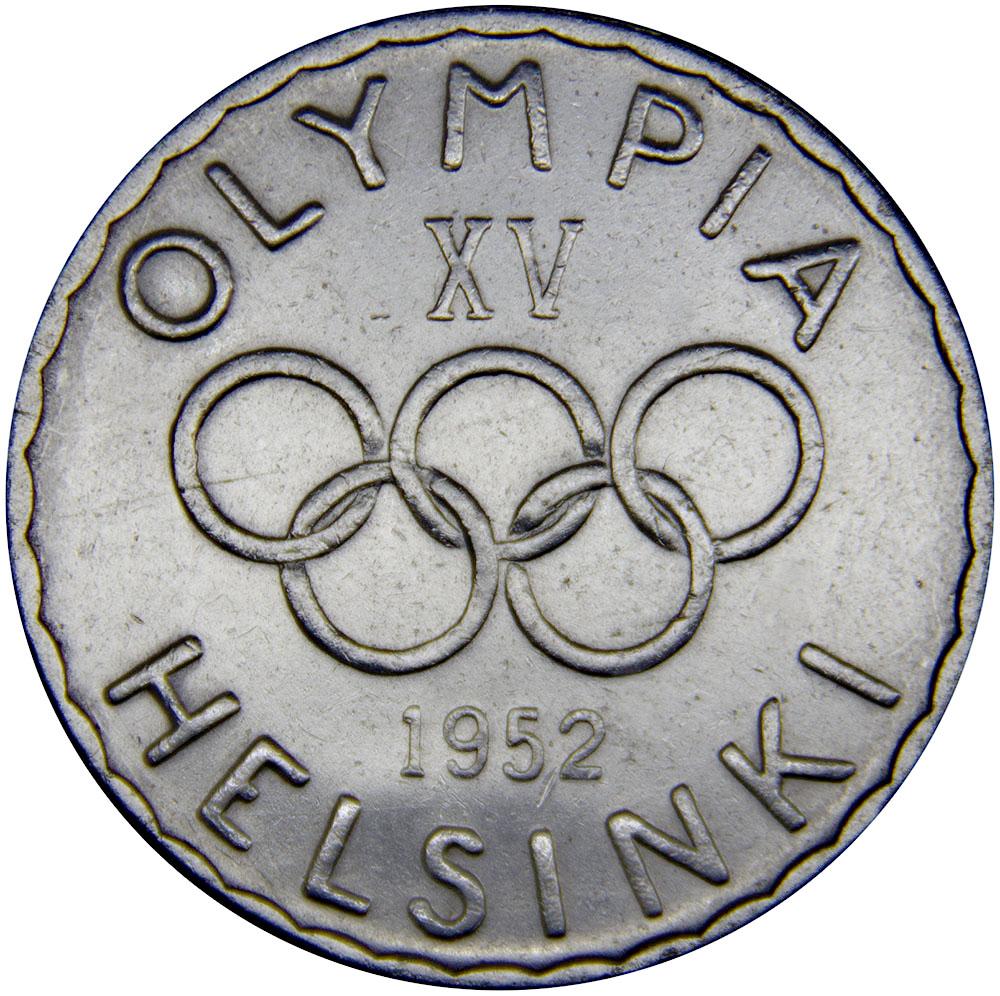 Монета номиналом 500 марок XV летние Олимпийские игры, Хельсинки 1952. Финляндия. 1952 год324006Вес: 12,00 г. Диаметр: 32,00 мм. Тип гурта: Гладкий Качество печати: обычное