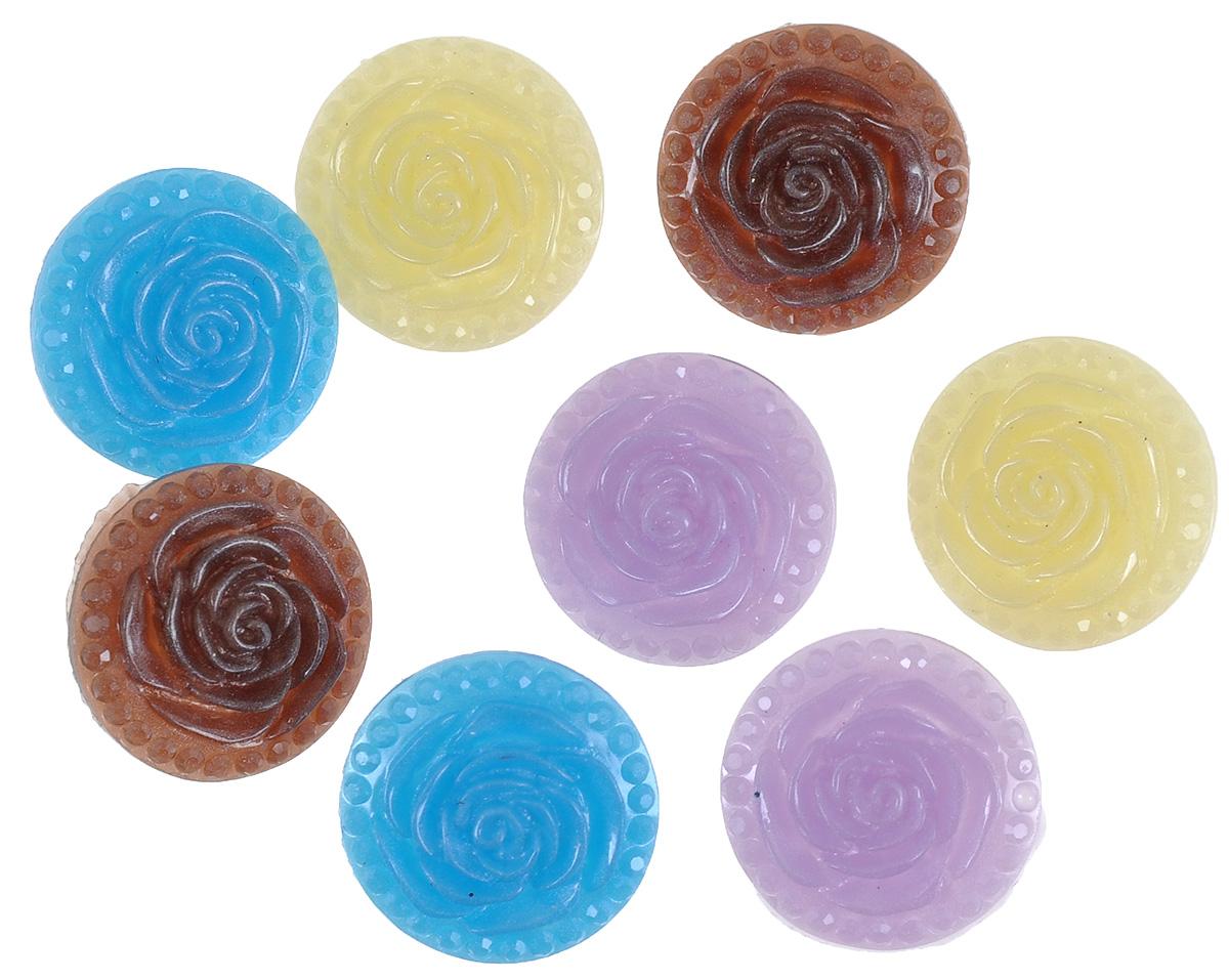Пуговицы декоративные Астра Розочки, цвет: синий, коричневый, светло-фиолетовый, диаметр 18 мм, 8 шт7708632_6Набор Астра Розочки, изготовленный из прочного пластика, состоит из 8 круглых декоративных пуговиц в виде роз. С помощью них вы сможете украсить открытку, фотографию, альбом, одежду, подарок и другие предметы ручной работы. Такие пуговицы станут незаменимым элементом в создании рукотворного шедевра. Диаметр пуговиц: 18 мм.