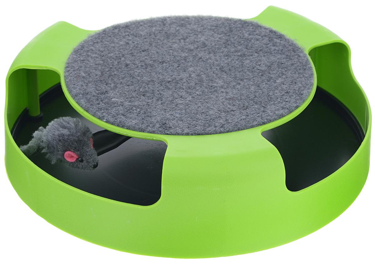 """Когтеточка для кошек Bradex """"Мышелов"""", с игрушкой, цвет: зеленый, черный TD 0169"""