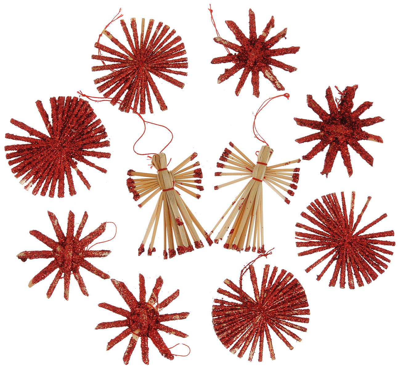 Набор новогодних подвесных украшений Феникс-презент Ангелы и звезды, цвет: красный, светло-коричневый, 10 шт38195Набор Феникс-презент Ангелы и звезды, состоящий из 10 новогодних подвесных украшений, отлично подойдет для декорации вашего дома и новогодней ели. Изделия выполнены из соломы в виде ангелочков и звезд, оформленных блестками. Украшения имеют специальные петельки для подвешивания. Коллекция декоративных украшений Феникс-презент Ангелы и звезды принесет в ваш дом ни с чем не сравнимое ощущение праздника! Средний размер украшения: 5,5 см х 5,5 см.