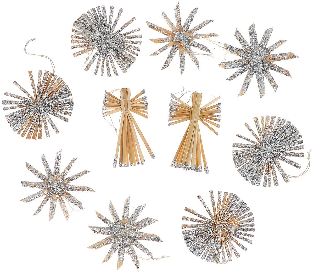 Набор новогодних подвесных украшений Феникс-презент Ангелы и звезды, цвет: серебристый, светло-коричневый, 10 шт38194Набор Феникс-презент Ангелы и звезды, состоящий из 10 новогодних подвесных украшений, отлично подойдет для декорации вашего дома и новогодней ели. Изделия выполнены из соломы в виде ангелочков и звезд, оформленных блестками. Украшения имеют специальные петельки для подвешивания. Коллекция декоративных украшений Феникс-презент Ангелы и звезды принесет в ваш дом ни с чем не сравнимое ощущение праздника! Средний размер украшения: 5,5 см х 5,5 см.