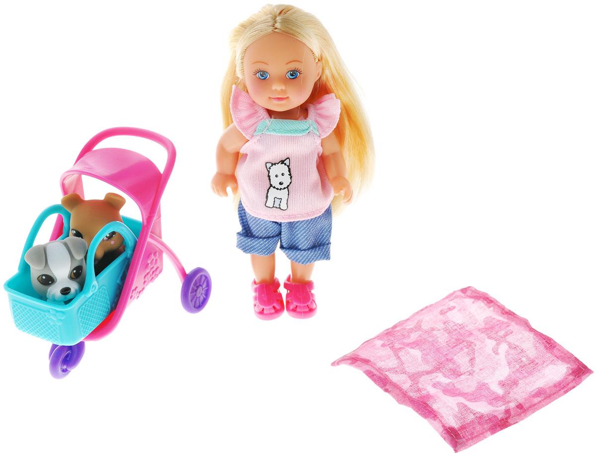 Simba Игровой набор с мини-куклой Evi Love Animal Buggy5733080Кукла Simba Еви: Animal Buggy порадует вашу малышку и доставит ей много удовольствия от часов, посвященных игре с Еви. Кукла одета в футболку с рисунком щеночка, синие штанишки и красные ботиночки. У куклы красивые светлые волосы, которые можно заплетать в различные прически. Голова, ручки и ножки куклы поворачиваются, что сделает игру с ней еще реалистичнее и интереснее. В комплекте с куклой идут две забавные маленькие собачки, коляска для них, а также небольшой коврик для отдыха на природе. Порадуйте свою малышку таким великолепным подарком.