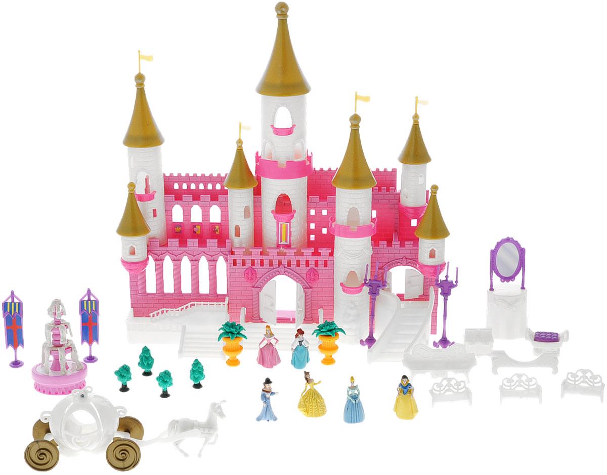 Disney Дом для кукол Волшебный замок с золотыми башнями40861Игровой набор Disney Princess Волшебный замок с золотыми башнями - это яркий набор миниатюрных фигурок принцесс из самых популярных мультфильмов компании Disney (Золушка, Спящая красавица, Белоснежка, Бэлла, Ариэль и Жасмин), и сказочный замок! Данный набор позволит погрузиться в мир волшебства и фантастических приключений вместе с персонажами любимых сказок. Многоэтажный замок со множеством окон, башен, балконов, лестниц и дверей, которые, при желании, можно открыть или закрыть. Множество аксессуаров для интересной игры с набором: фонтан и деревья для сада, лавочки, софа, канделябры, зеркало, сундук, гербы на подставках, карета, запряженная белым конем. Несмотря на миниатюрность предметов, все детали хорошо прорисованы. В комплект входит: замок, 6 фигурок принцесс, 2 клумбы с цветами, карета с лошадью, 4 лавочки, софа, стул, сундук, зеркало с тумбой, 4 деревца, фонтан, 2 канделябра, 2 герба на подставках, 3 лестницы, картинка с изображением мостовой, тропинки и...