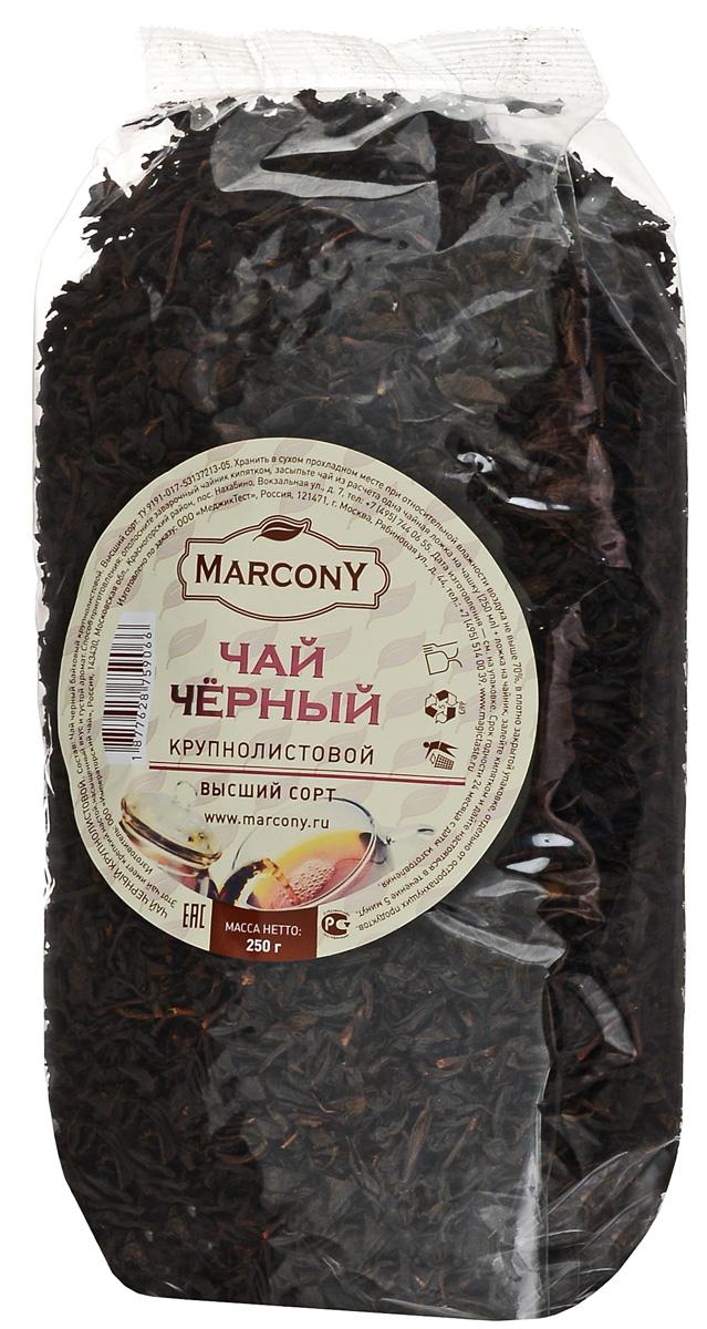 Marcony черный листовой чай, 250 г1877628759066Черный чай Marcony - яркий бленд крупнолистовых сортов индийского чая. Крепкий настой рубинового цвета в нем сочетается с насыщенным, но мягким вкусом и густым ароматом. Этот чай будет великолепным дополнением душевного дачного застолья.