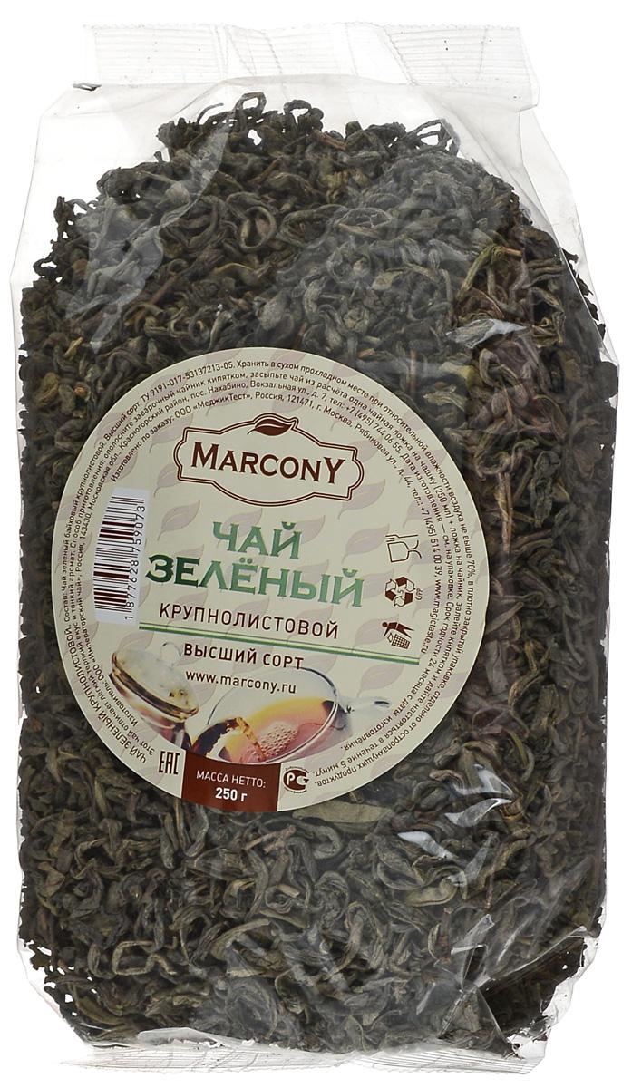 Marcony зеленый листовой чай, 250 г1877628759073Зеленый чай Marcony - бленд крупнолистовых сортов китайского чая. Имеет тонкий аромат и немного терпкий вкус, напоминающий мускатный виноград. Этот чай отлично освежит и предаст сил в жаркий, летний день.