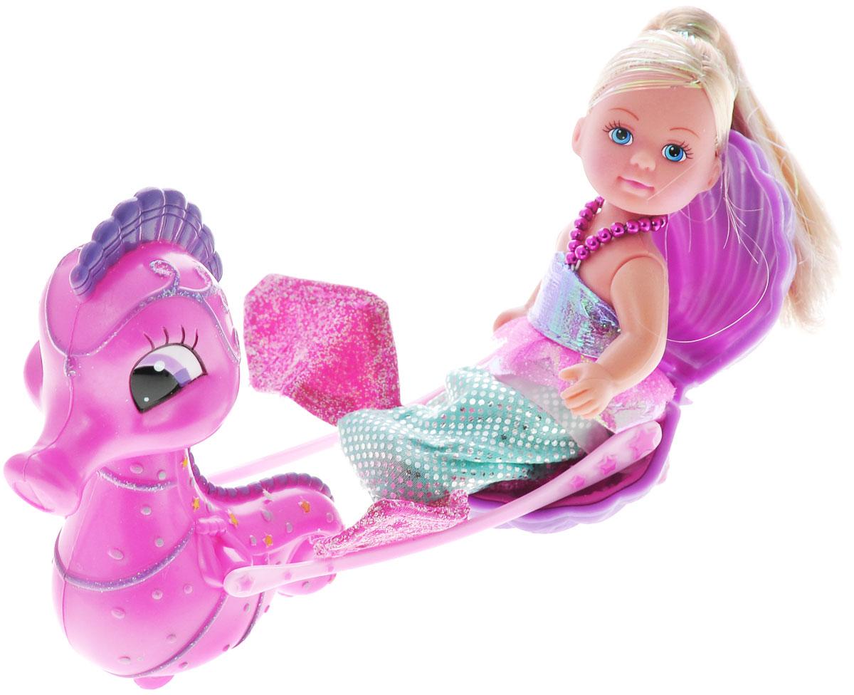 Simba Игровой набор с мини-куклой Еви-русалка и морской конек5738984Игровой набор Еви-русалка и морской конек не оставит равнодушной ни одну девочку. Крошка Еви превратилась в прекрасную русалочку, ее лучший друг - симпатичный морской конек. Он всегда готов прокатить свою подружку в карете - открытой морской раковине. Костюм русалки легко снимается и Еви становится обычной куколкой! У Еви подвижные ручки и ножки, а у морского конька поворачивается голова. Благодаря своей компактности, Еви можно брать в дальнее путешествие! Она не займет много места, а расставаться с ней не захочется! Благодаря маленьким размерам элементов набора ваша малышка сможет брать его с собой на прогулку или в гости. Порадуйте ее таким замечательным подарком.
