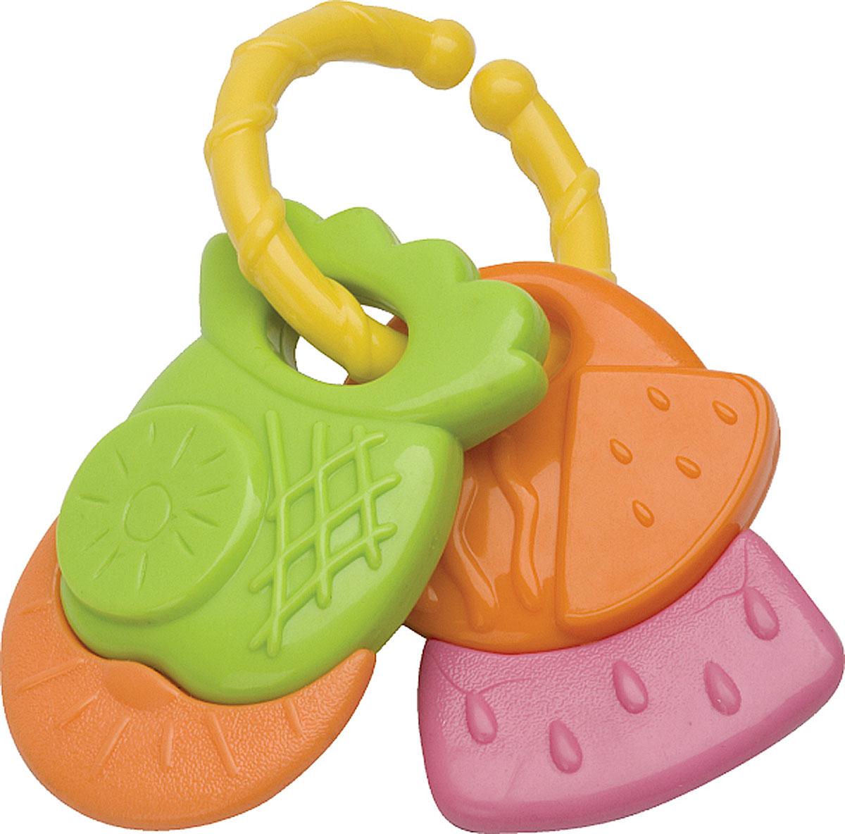Курносики Погремушка Фруктовая корзинка23054Погремушка Курносики Фруктовая корзинка - легкая игрушка, которую удобно держать в маленьких ручках. Отлично подходит в качестве первой погремушки. Игрушка-погремушка выполнена из безопасного пластика и представляет собой кольцо с двумя рельефными подвесками в виде ананаса и арбуза. Игрушка может использоваться как прорезыватель. Развивает слух, мелкую моторику, мышление, концентрацию внимания и цветовое восприятие.