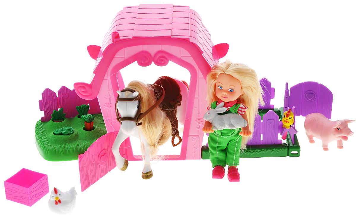 Simba Игровой набор с мини-куклой Еви и ферма5733068Игровой набор Еви и ферма не оставит равнодушной ни одну девочку. Крошка Еви теперь фермер! Куколка одета в зеленый комбинезон и полосатую кофточку. Вместе с ней на ферме живет белая лошадка с длинной гривой, кролик, поросенок и другие животные. У Еви подвижные ручки и ножки, голова поворачивается. Благодаря своей компактности, Еви можно брать в дальнее путешествие! Она не займет много места, а расставаться с ней не захочется! В набор входят животные, грядки с овощами, кукла, лошадь и ферма. Игровой набор Еви и ферма предназначен для развития маленьких девочек, ведь с данным набором можно ухаживать за своим огородом, кормить животных выращенными овощами и гулять с ними. Благодаря маленьким размерам элементов набора ваша малышка сможет брать его с собой на прогулку или в гости. Порадуйте ее таким замечательным подарком.