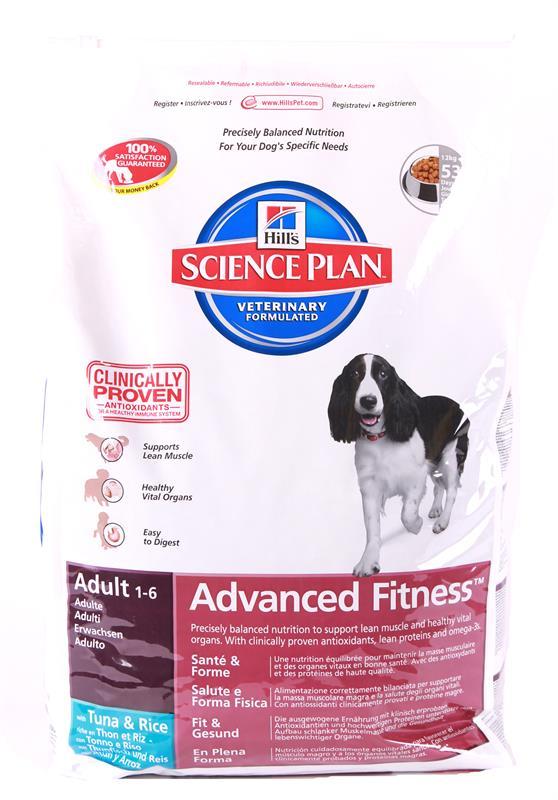 Корм сухой Hills Advanced Fitness для взрослых собак, с тунцом и рисом, 12 кг9269Сухой корм Hills Science Plan Advanced Fitness Tuna & Rice предназначен для собак от 1 года до 6 лет, мелких и средних пород, умеренно активных. Это полноценное, точно сбалансированное питание, приготовленное из ингредиентов высокого качества, без добавления красителей и консервантов. Рацион Science Plan содержит эксклюзивный комплекс антиоксидантов с клинически подтвержденным эффектом для поддержки иммунной системы вашего питомца. Состав: с тунцом и рисом (минимум 16% тунца, минимум 10% риса), молотая кукуруза, молотый рис, соевая мука, животный жир, мука из тунца, мука из мяса домашней птицы, мука из маисового глютена, гидролизат белка, семя льна, растительное масло, калия цитрат, кальция карбонат, соль, L-лизина гидрохлорид, калия хлорид, таурин, L-триптофан, витамины и микроэлементы. Содержит натуральные консерванты - смесь токоферолов, лимонную кислоты и экстракт розмарина. Среднее содержание нутриентов в рационе: протеины 23%, жиры 15,1%, углеводы 48%,...