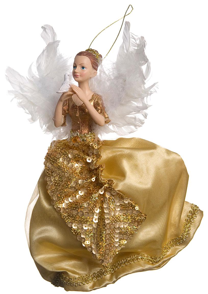 Новогоднее подвесное украшение Its a Happy Day Ангел Рождества, цвет: золотой, белый, 23 х 5 х 22 см67512Новогоднее подвесное украшение Its a Happy Day Ангел Рождества выполнено из высококачественного полирезина и полиэстера в форме ангелочка с птицей в руках. С помощью специальной петельки украшение можно повесить в любом понравившемся вам месте. Но, конечно, удачнее всего оно будет смотреться на праздничной елке.