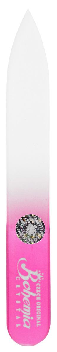 Bohemia Пилочка для ногтей, стеклянная, чехол из мягкого пластика, цвет: розовый. 0902cz233-0902в_розовыйСтеклянная пилочка Bohemia подходит как для натуральных, так и для искусственных ногтей. Она прекрасно шлифует и придает форму ногтям. После пользования стеклянной пилочкой ногти не слоятся и не ломаются. При уходе за накладными ногтями во время работы ее рекомендуется периодически смачивать в воде. Поверхность стеклянной пилочки не поддается коррозии. К пилочке прилагается замшевый чехол. Материал пилочки: богемское стекло.