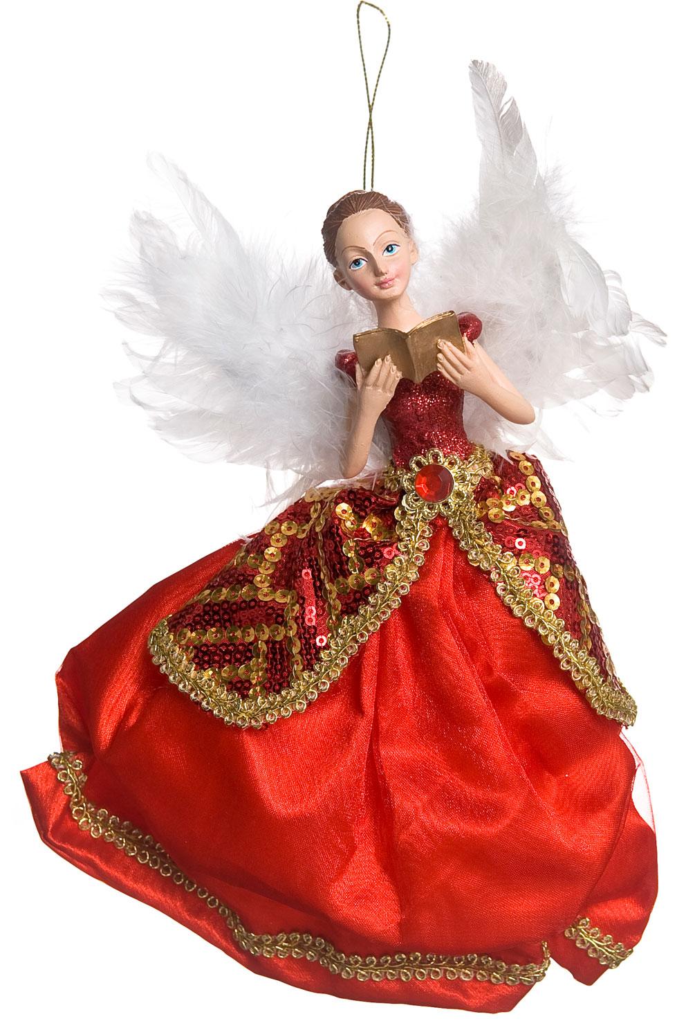 Новогоднее подвесное украшение Its a Happy Day Ангел Рождества, цвет: красный, белый, золотой, 23 х 5 х 22 см67510Новогоднее подвесное украшение Its a Happy Day Ангел Рождества выполнено из высококачественного полирезина и полиэстера в форме ангелочка с книгой в руках. С помощью специальной петельки украшение можно повесить в любом понравившемся вам месте. Но, конечно, удачнее всего оно будет смотреться на праздничной елке.