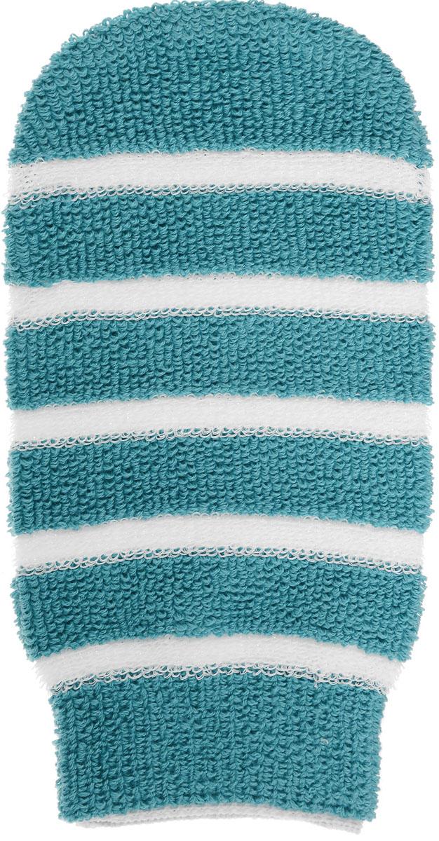 Мочалка-рукавица Riffi, с массажными полосками, цвет: бирюзовый406_бирюзовыйМочалка-рукавица Riffi, с массажными полосками, цвет: бирюзовый